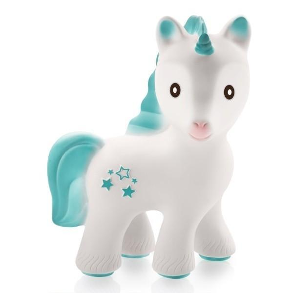 CaaOcho Mira the unicorn 100% natural rubber hermetically sealed bath toy & baby teether www.spottydot.com.au