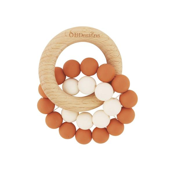 OB Designs - Cinnamon - Eco Friendly Teether - Organic Beechwood Silicone Toy