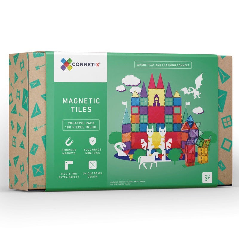 Connetix Magnetic Building Tiles Activity Set - 100 piece Creative Pack  www.spottydot.com.au