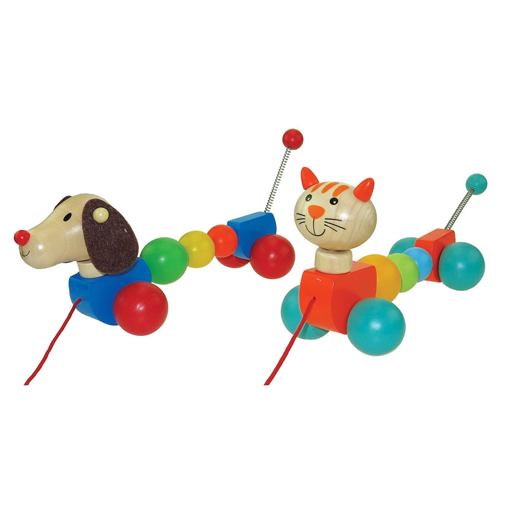 Dog & Cat Pull Along Toylink - www.spottydot.com.au
