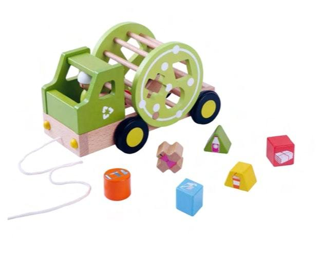 EverEarth Recycling Truck Shape Sorter Pull Along www.spottydot.com.au