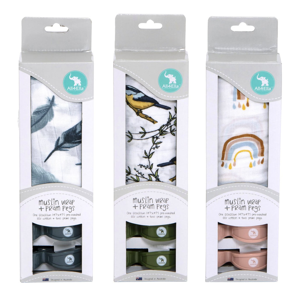 All4Ella - Baby Muslin Wrap & Pram Pegs Set - Feather, Bird, Rainbow