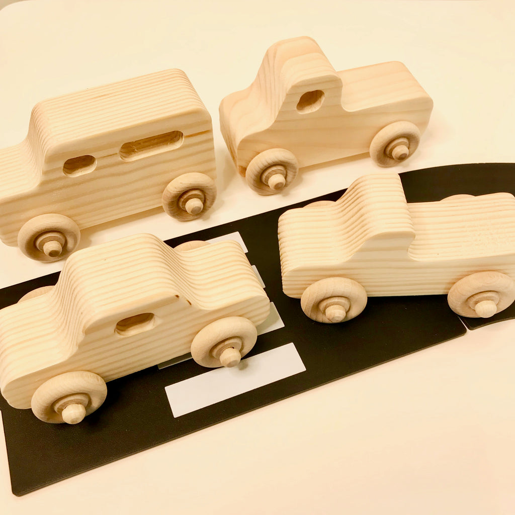 The Wooden Toy Co - Set of four vehicles - www.spottydot.com.au