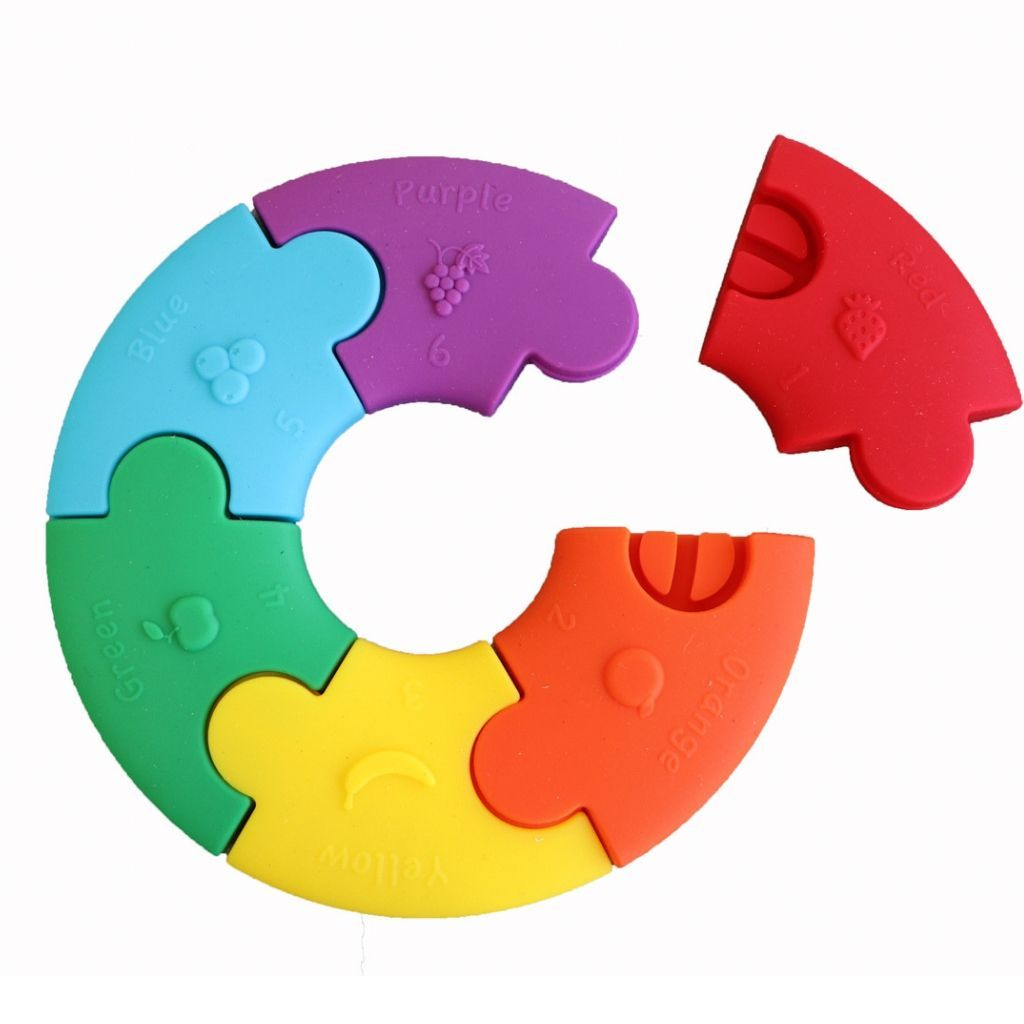 Colour Wheel Puzzle Teether - pastel & rainbow