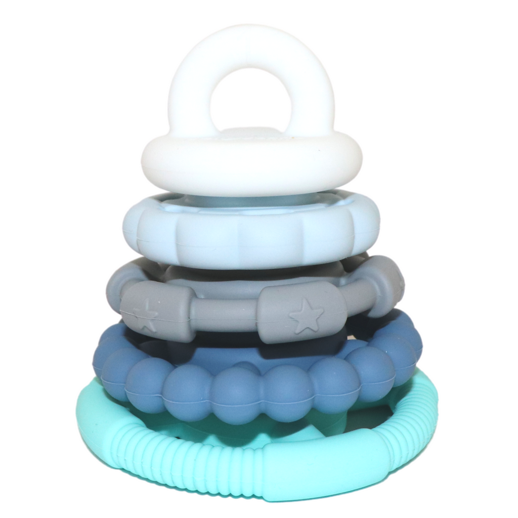 Jellystone - Ocean Blue Silicone Stacker Teether Toy - www.spottydot.com.au