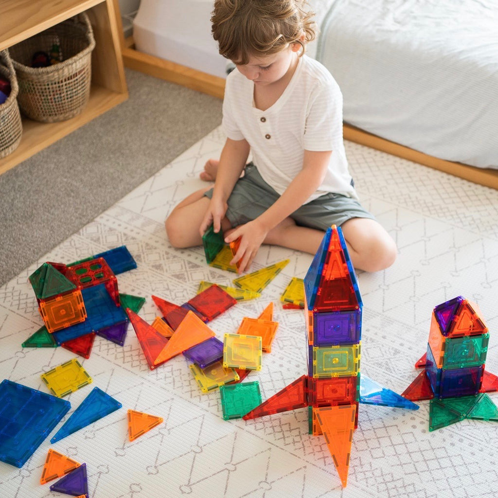 Learn & Grow Toys - 110 piece Magnetic Tile Set www.spottydot.com.au