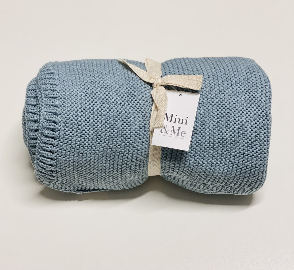 Mini & Me - Cable Knit Baby Blanket - Island Blue