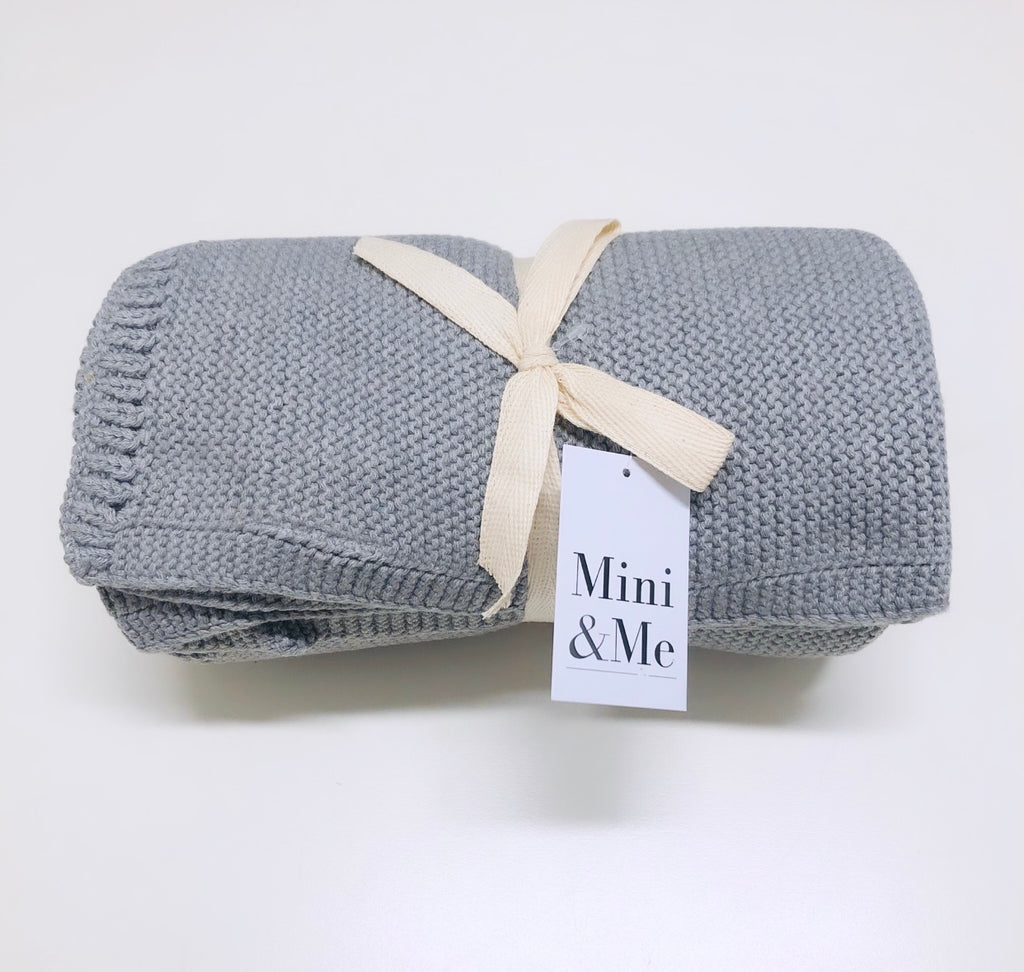 Mini & Me - Cable Knit Baby Blanket - Grey