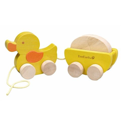 EverEarth Duck pull along with egg Spotty Dot wooden toy