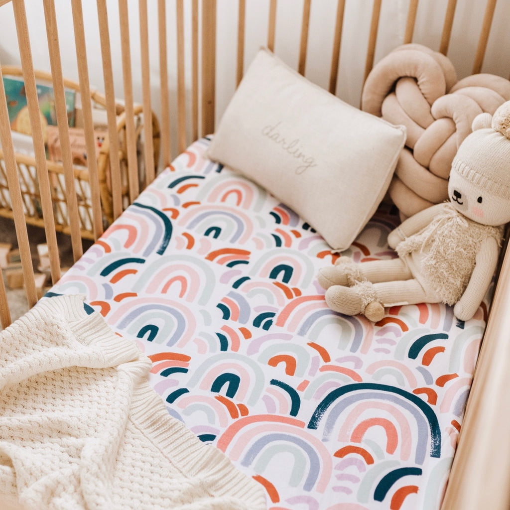 Snuggle Hunny Rainbow Baby Fitted Cot Sheet www.spottydot.com.au