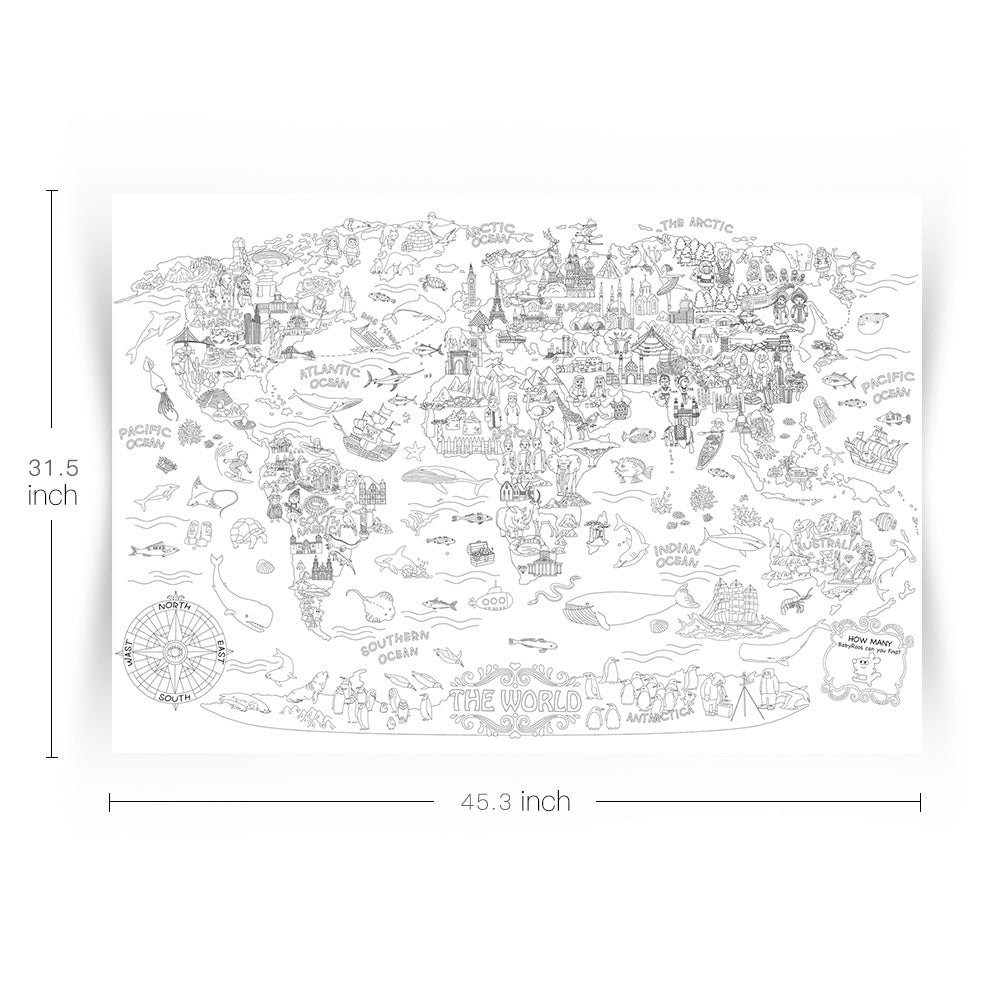 Giant Colouring Poster - The World - Age 2+