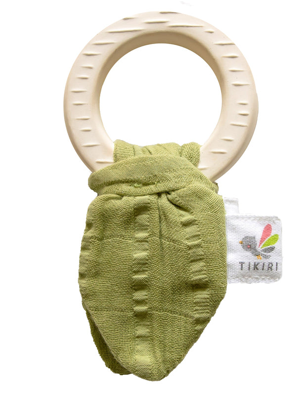 Tikiri - Natural Rubber Teether with Muslin Sensory Tie - Sage Green