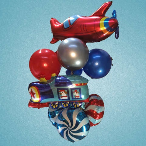 Trains & Planes Balloon Bouquet - Large