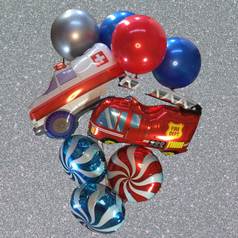 Emergency Vehicles Balloon Bouquet - Large