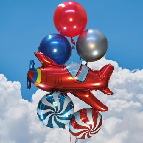 Plane Balloon Bouquet - Medium