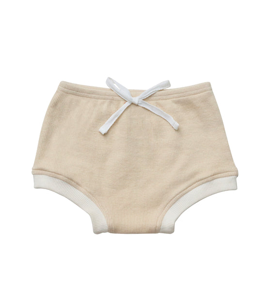 India and Grace Ribbed Retro Bloomer - Beige