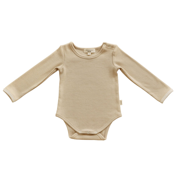 India and Grace Beige Short Sleeve Onesie