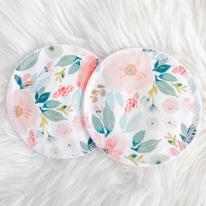 Green and Pink Floral Nursing Pads