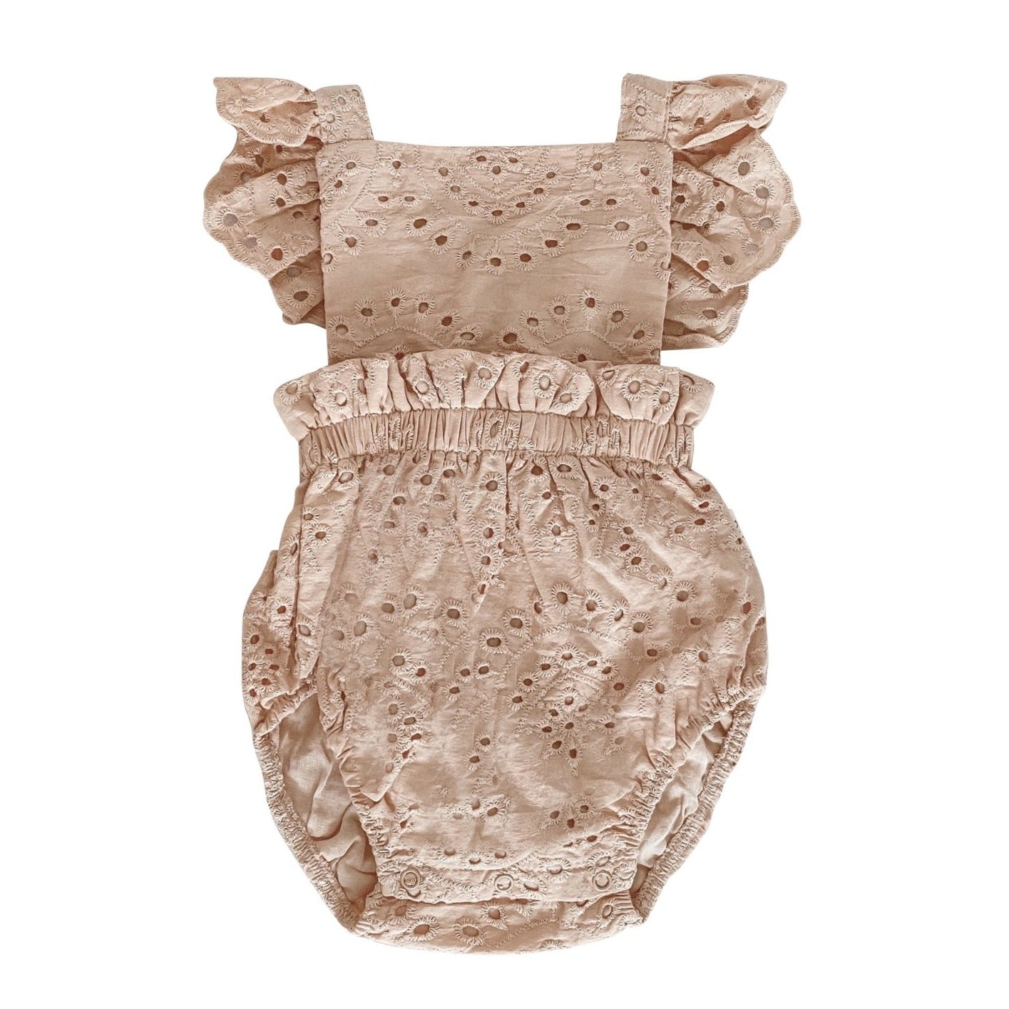 Broderie Anglaise Ruffle Romper - Hazlenut