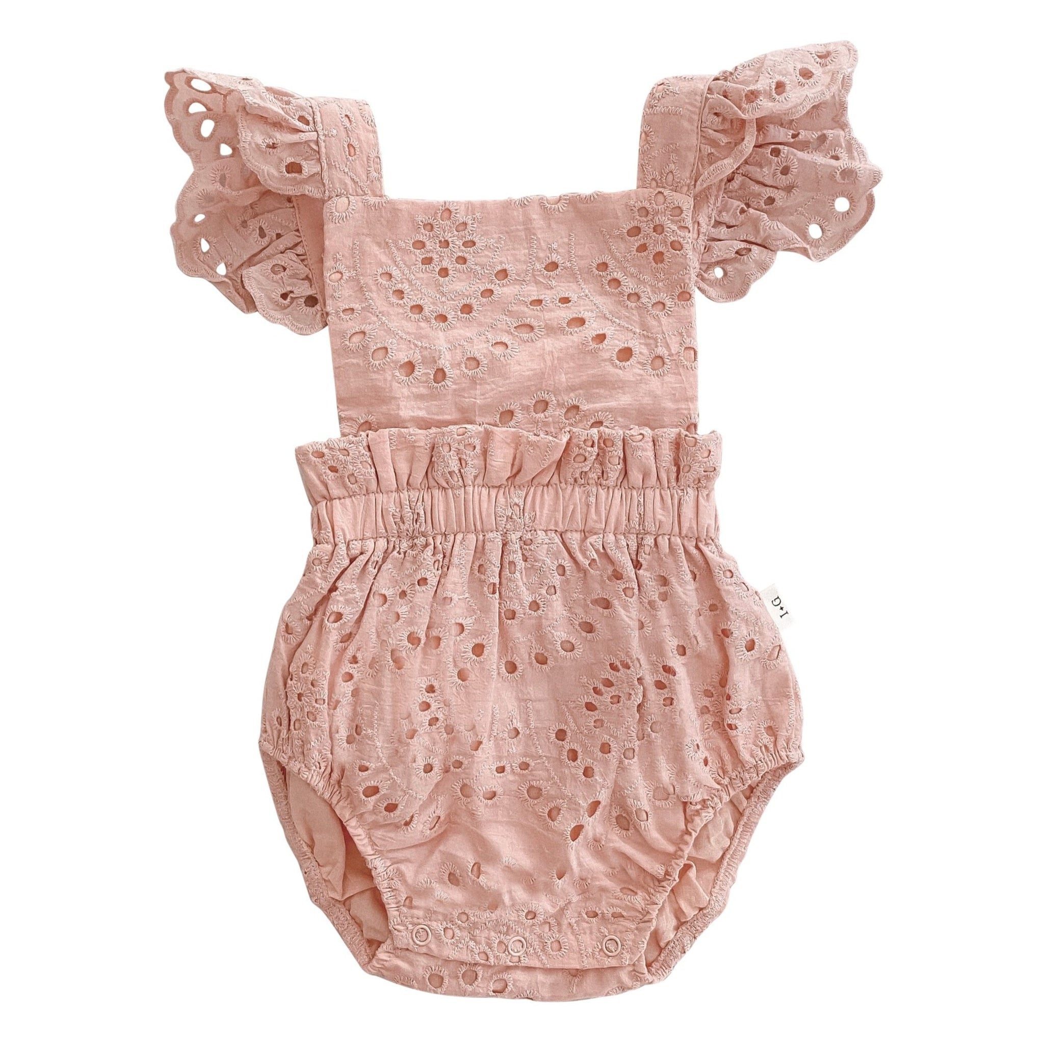 Broderie Anglaise  Ruffle Romper - Vintage Pink - India and Grace