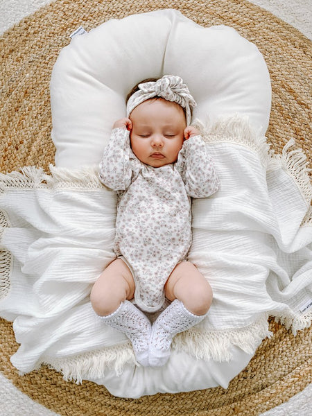 Cream Swaddle with Natural Fringe - Ziggy Lou