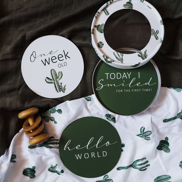 Cactus and Leaf Green Milestone Cards | Snuggle Hunny Kids