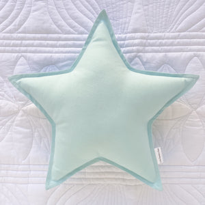 Duck Egg Blue Star Cushion - Little Bambino Bear