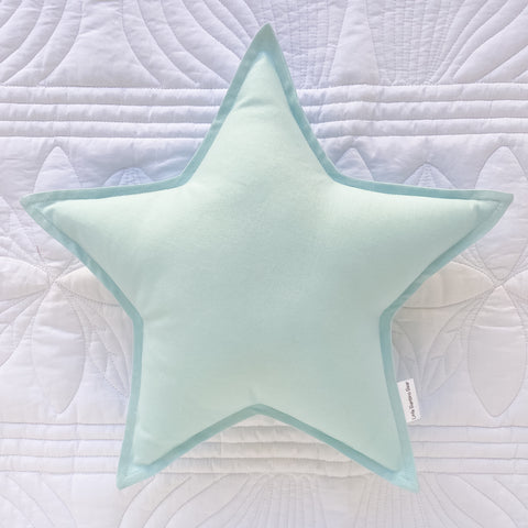 Duck Egg Blue Star Cushion | Little Bambino Bear