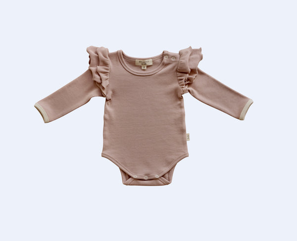 Ribbed Long Sleeve Ruffle Onesie - Dusty Pink