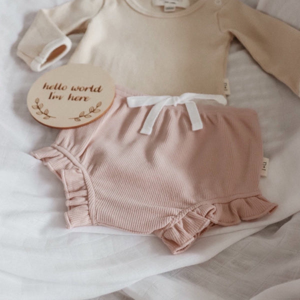 Ribbed Ruffle Bloomer - Dusty Pink