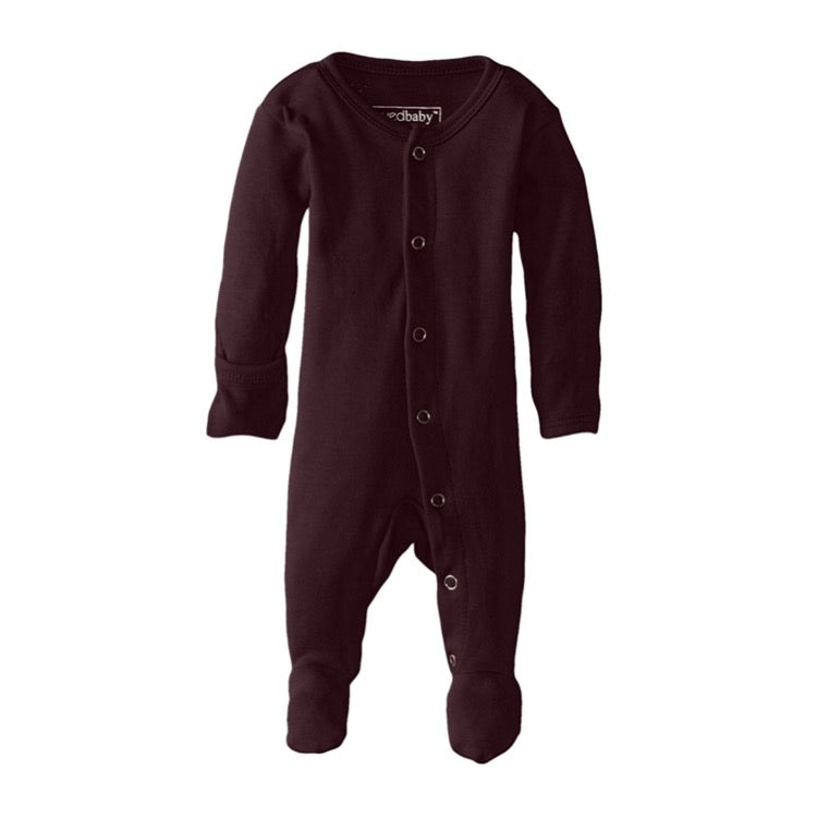Organic Footed Overall - Eggplant - Little Bambino Bear