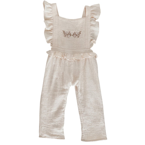 Embroidered Ruffle Jumpsuit - Cream - India and Grace