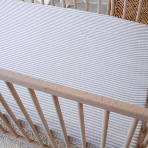Fitted Cot Sheet - Fog Stripe