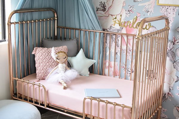 Snuggle Hunny Kids Fitted Cot Sheet Lullaby Pink | Little Bambino Bear