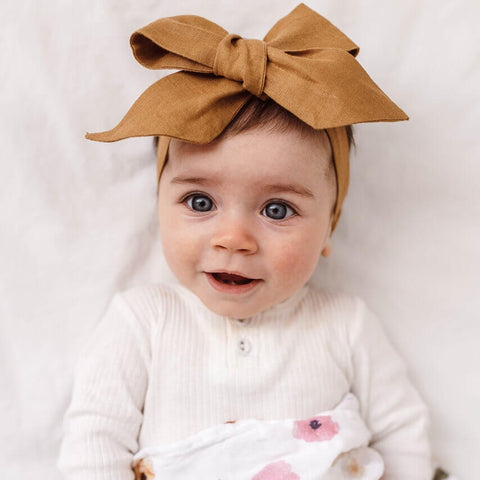 Linen Bow Pre-tied Headband Wrap - Mustard - Little Bambino Bear