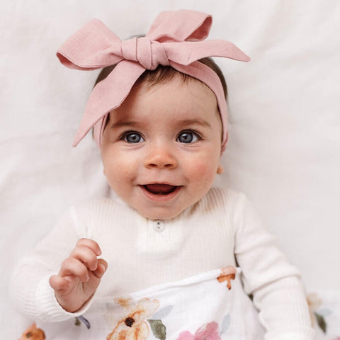 Linen Bow Pre-tied Headband Wrap - Dusty Pink - Little Bambino Bear