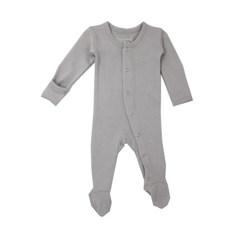Organic Footed Overall - Light Grey - Little Bambino Bear