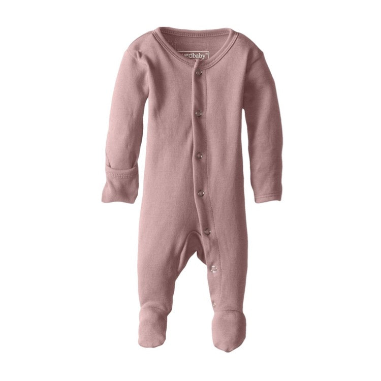 L'ovedbaby Organic Footed Overall in Mauve | Little Bambino Bear