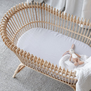 100% Organic Bamboo Bassinet Fitted Sheet - Fog Stripe