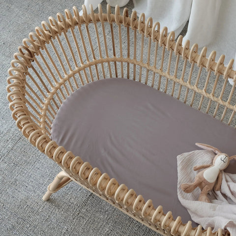 100% Organic Bamboo Bassinet Fitted Sheet - Steel