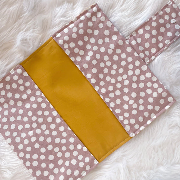 Nappy Clutch - Dusty Pink Spot with Mustard Inner