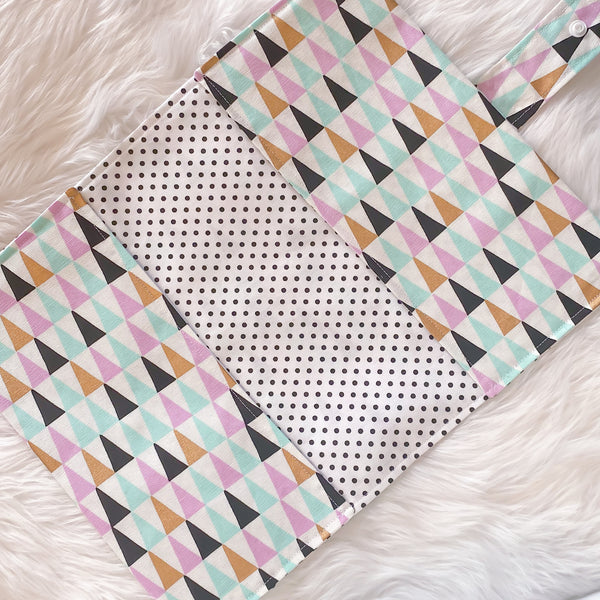Nappy Clutch - Triangles with Polka dot inner