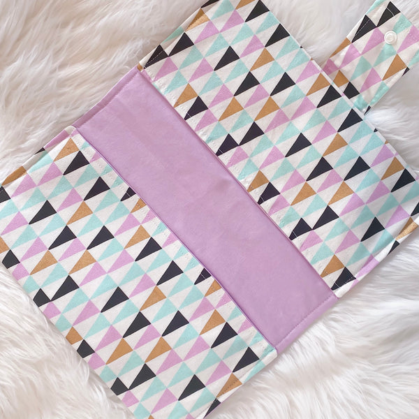 Nappy Clutch - Triangles with Purple lining