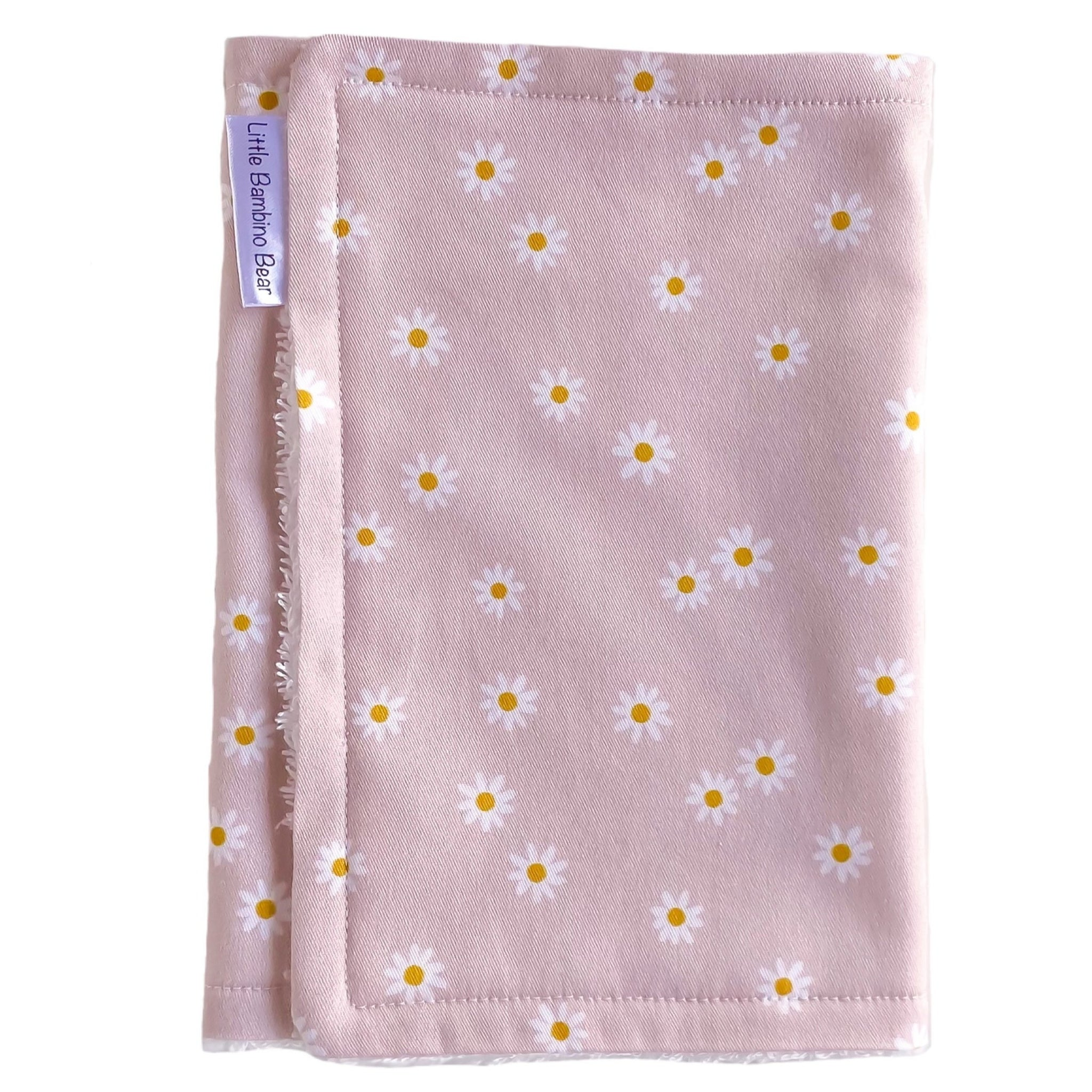 Premium Burp Cloth - Pink Daisy - Little Bambino Bear