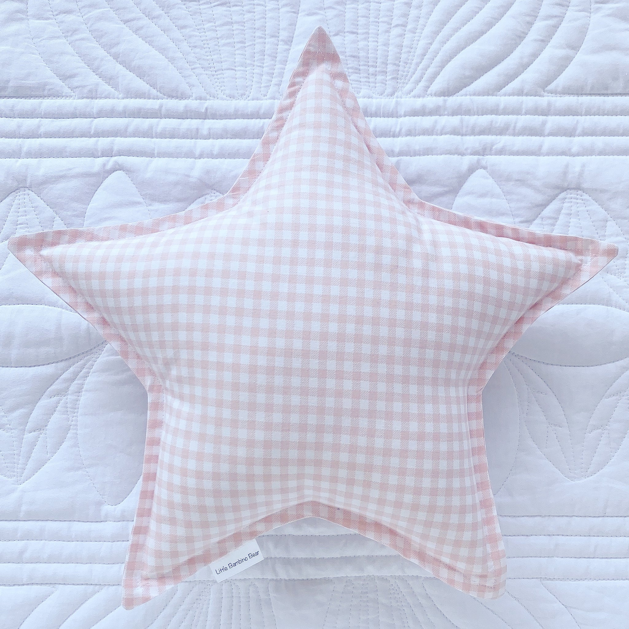Pink Gingham Star Cushion - Little Bambino Bear