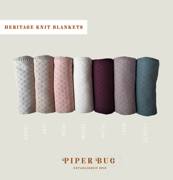 Heritage Knit Blankets by Piper Bug all