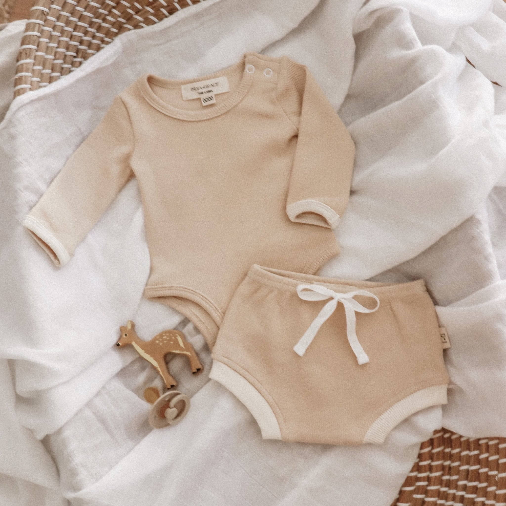 India and Grace Beige Short Sleeve Onesie 2