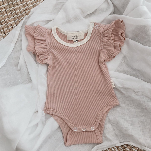 Ribbed Short Sleeve Ruffle Onesie - Dusty Pink