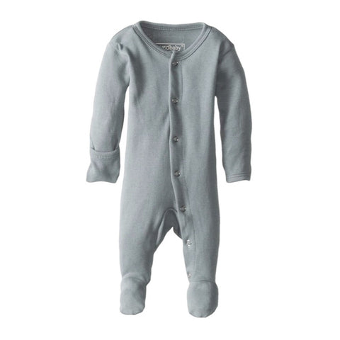 Organic Footed Overall - Seafoam - Little Bambino Bear