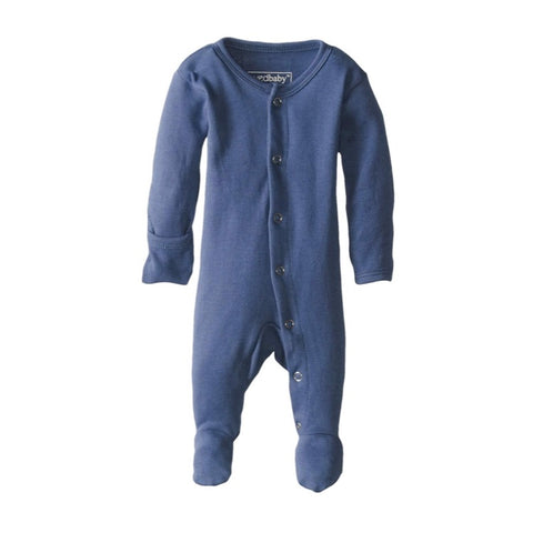 Organic Footed Overall - Slate - Little Bambino Bear